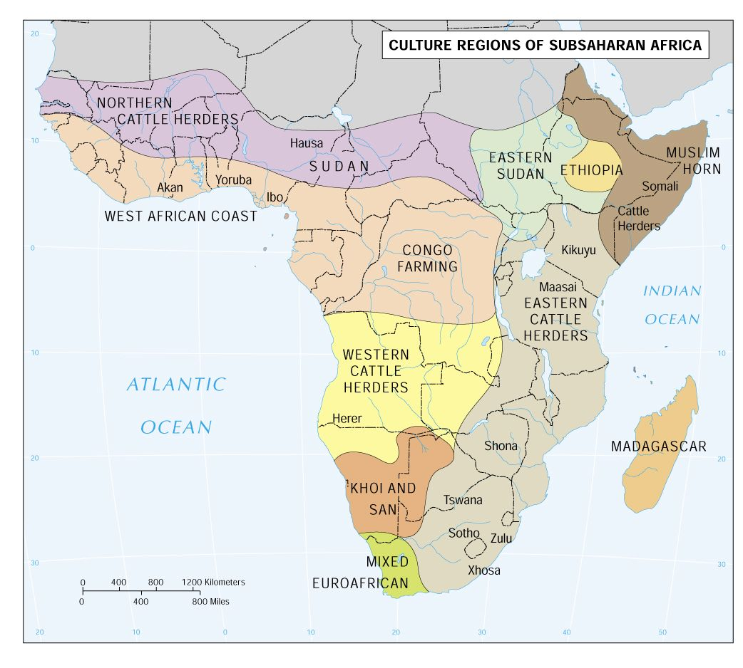 Culture Areas of Sub Saharan Africa | Africa | Africa map, Map, Africa