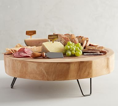 Wood Slab Cheese Serve Pedestal Potterybarn Wood Cheese