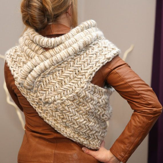 Katniss cowl vest scarf shawl /wheat cream/ MADE TO by ...