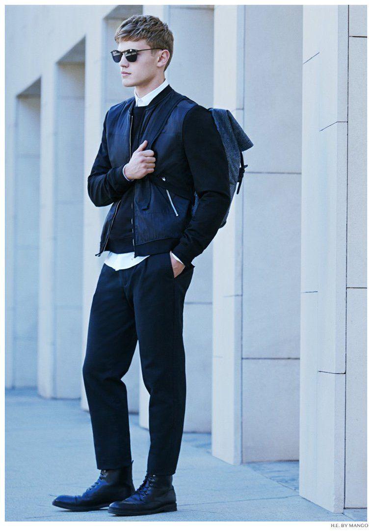 Bo Develius Models Fall Styles for H.E. by Mango November 2014