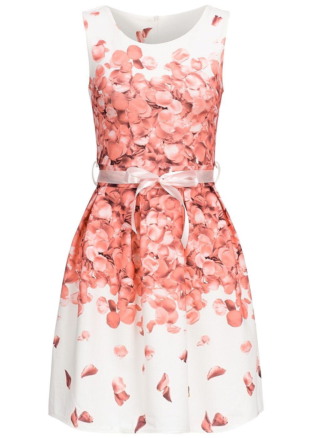 Styleboom Fashion Damen Mini Kleid Rosenblätter Muster Bindeband ...