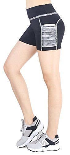 a1d00b38e0 Sugar Pocket Women's Workout Shorts Running Tights Yoga Short Pants  S(Black/Grey)