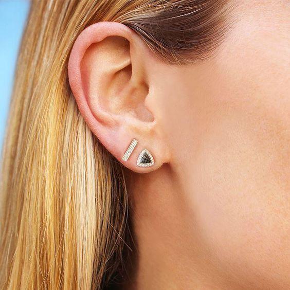 Dana Rebecca Designs Sylvie Rose Diamond Bar Earrings Rose Gold