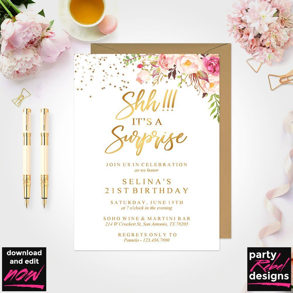 Surprise Birthday Invitation Instant Download, Floral