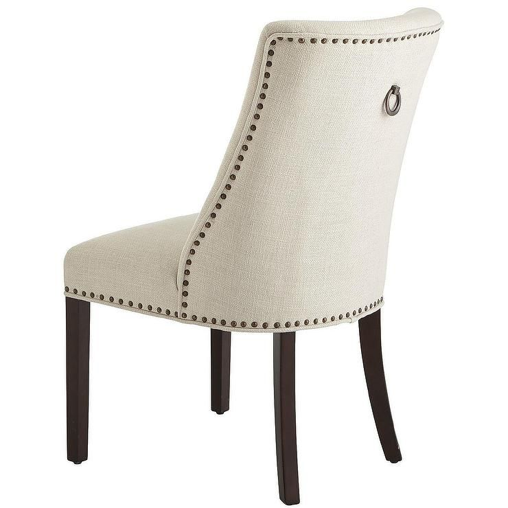 Scoop Back Ivory Upholstered Dining Chair