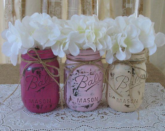Great Set Of 3 Pint Mason Jars, Painted Mason Jars, Baby Shower Decorations, Dark  Pink, Light Pink And Creme Mason Jars