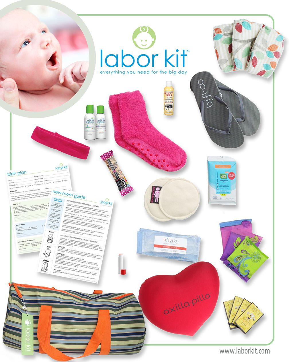 Our LaborKit includes biodegradable diapers, organic