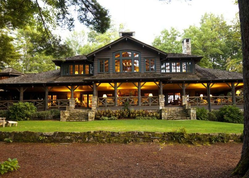 Color And Stone And Porch Not Size N C Lake House Combines Southern Charm Adirondack Style House O Lake Houses Exterior House Designs Exterior Lake House