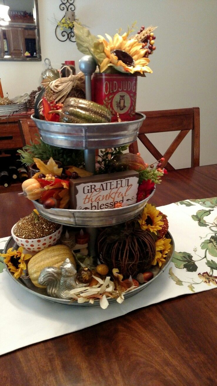 My Fall 3 Tier Tray Serving Tray Decor Galvanized Decor Tiered Tray Decor