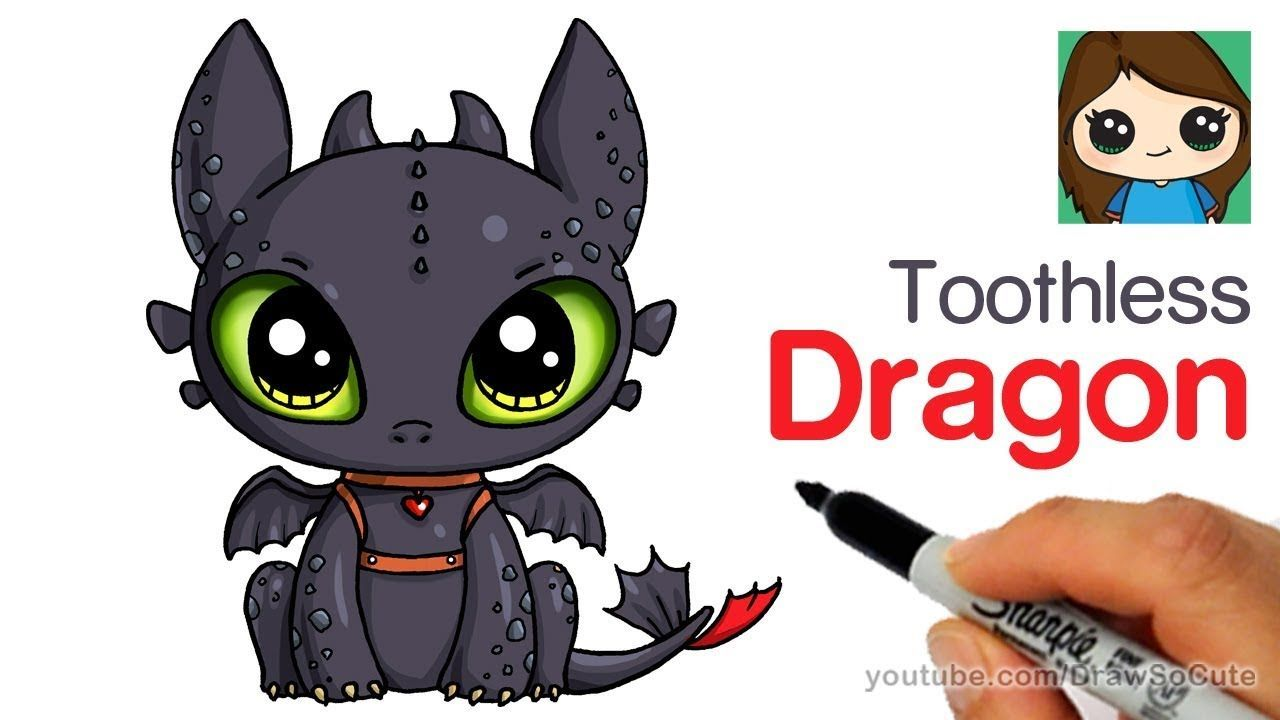 How To Draw A Cute Dragon Easy Toothless Cute Easy Drawings Cute Dragons Dragon Drawing