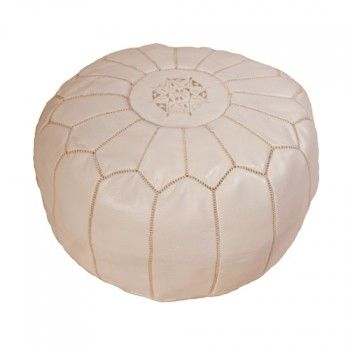 Moroccan Leather Pouf White Moroccan Leather Pouf Moroccan