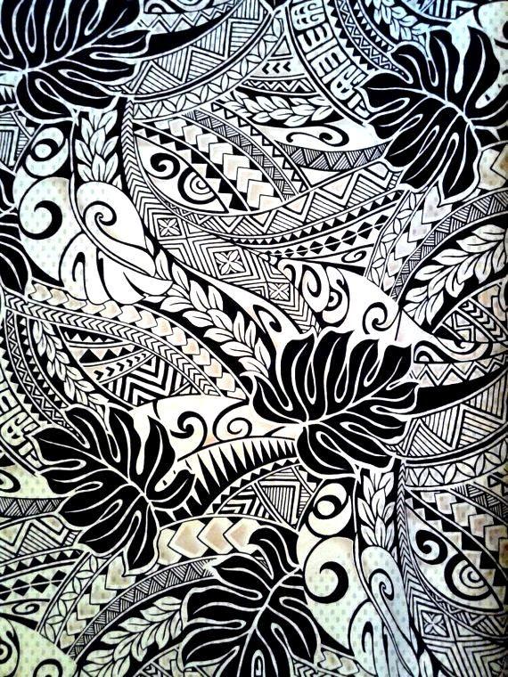Black and Tan Polynesian Tattoo Fabric Hawaiian Fabric Aloha