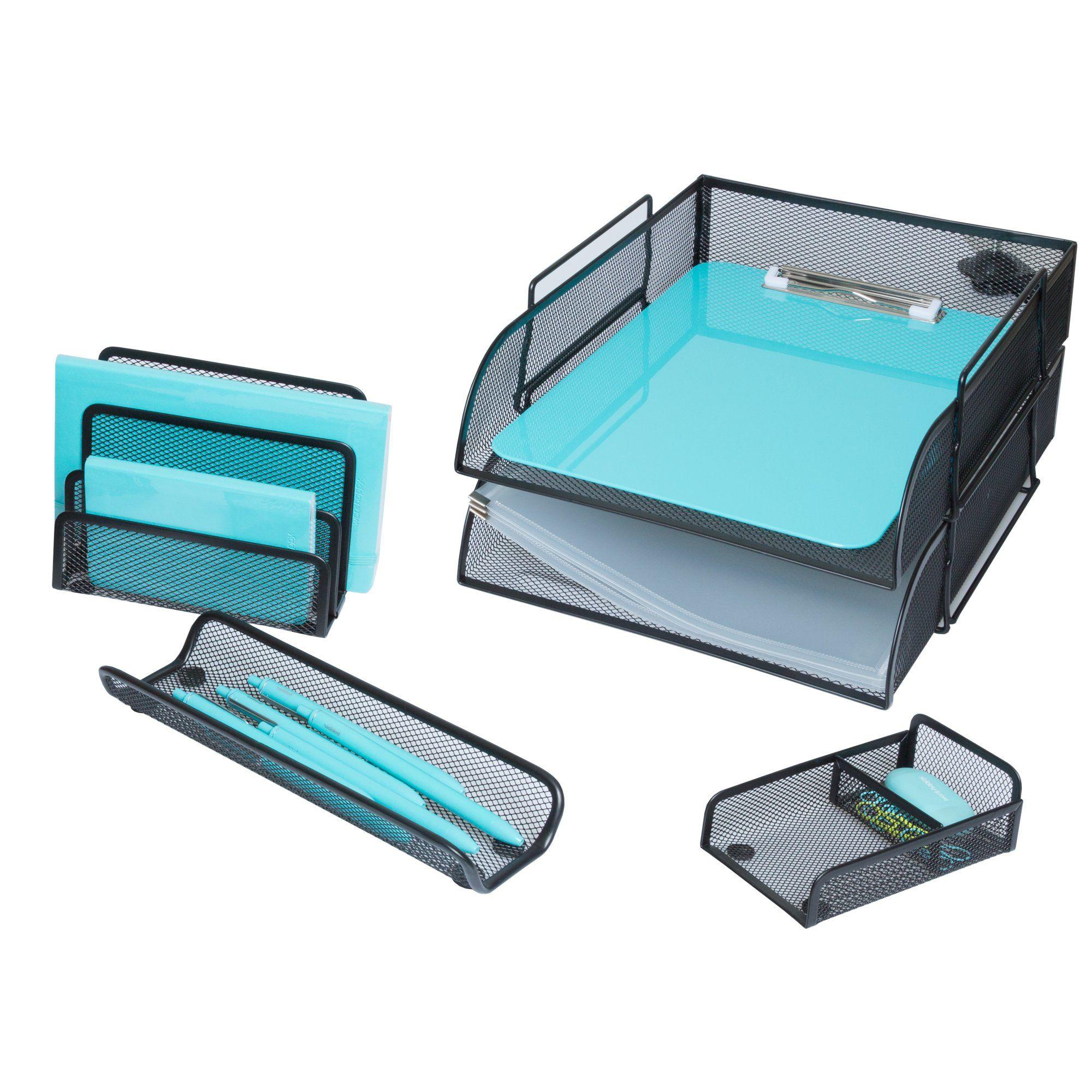 5 Piece Wire Mesh Desk Organizer Set – Black Office Desk Organizers ...