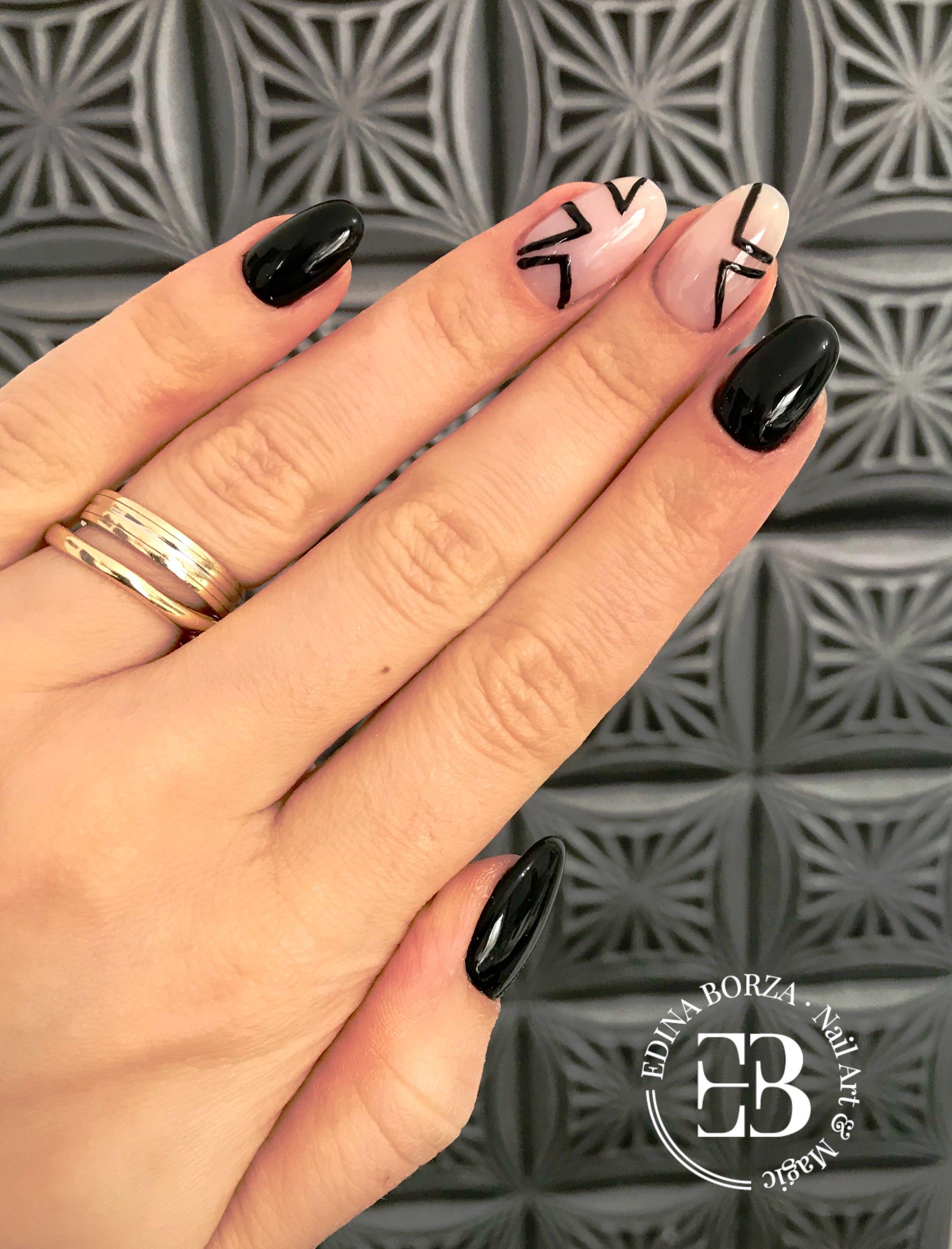 Nails by Edina Borza, Cluj Napoca, Romania Geometric black and nude ...
