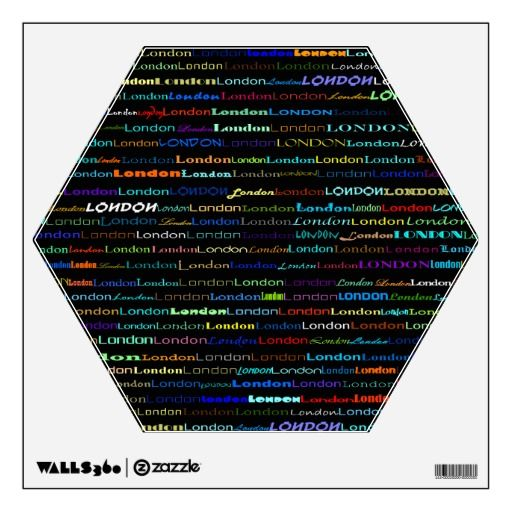 London Text Design I Wall Decal Hexagon Wall Decals Shapes