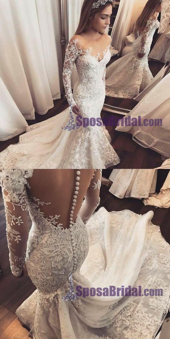 Long Sleeves Lace Ivory Wedding Dresses, Hot Sales Spring Wedding ...