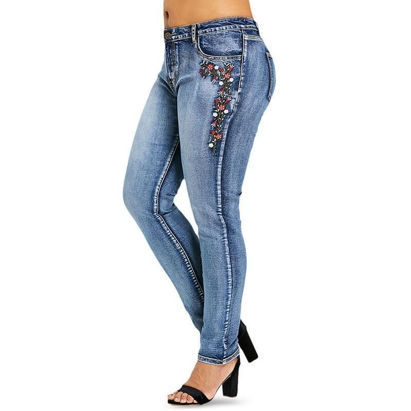 flower embroidered jeans women's