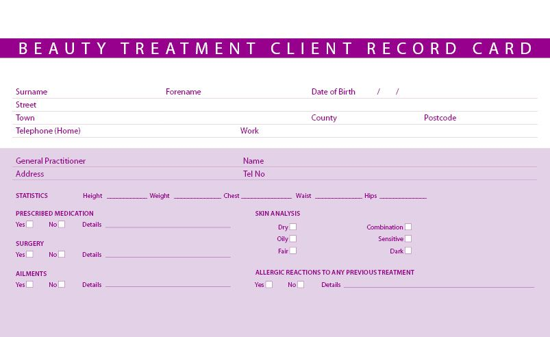 client record card template free