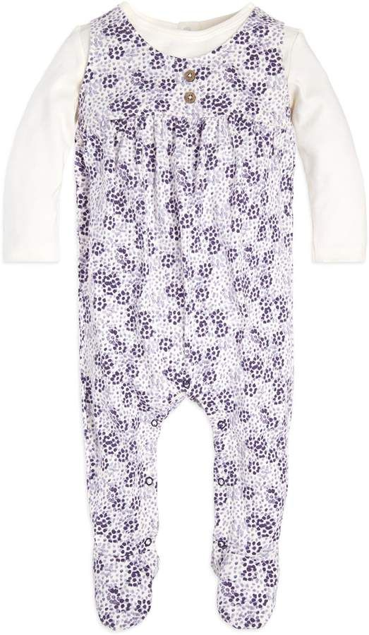 1598c7e3401f Baby Baby Girl Baby Organic Dot Floral Mock-Layer Coverall  purple ...