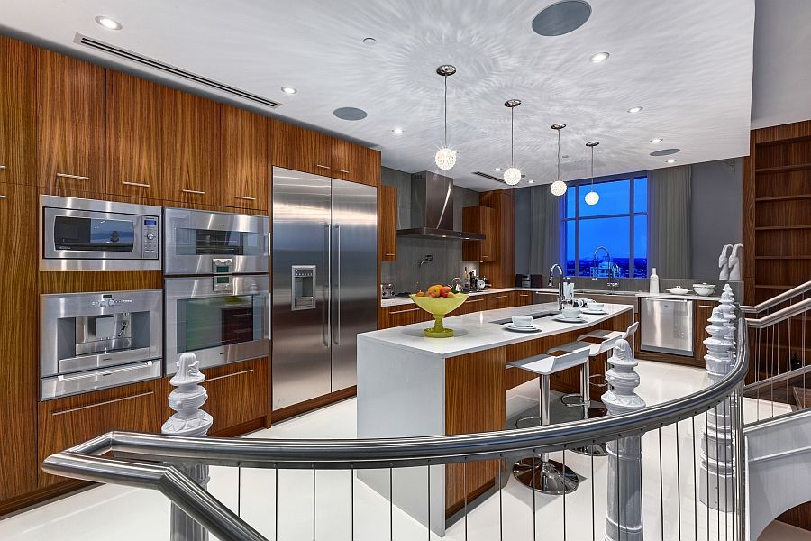 Captivating Beautiful Modern Kitchen With Wooden Cabinets And A Smart Island   Decoist Great Ideas