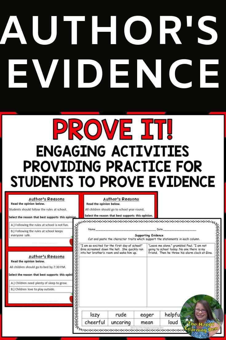 Author's Evidence BUNDLE | Author, Text evidence, Teaching ...