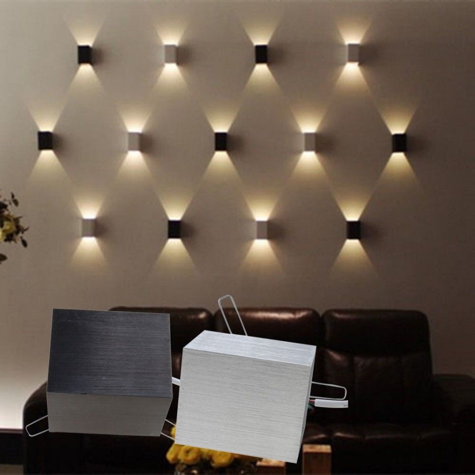 Unique cube led stainless steel wall sconce lamp come with brown