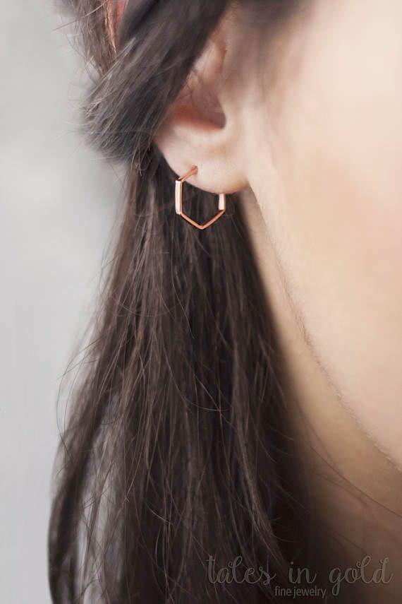 Rose Gold Hoops Small Hoop Earrings Hexagon Earrings Rose | • hOOp ...
