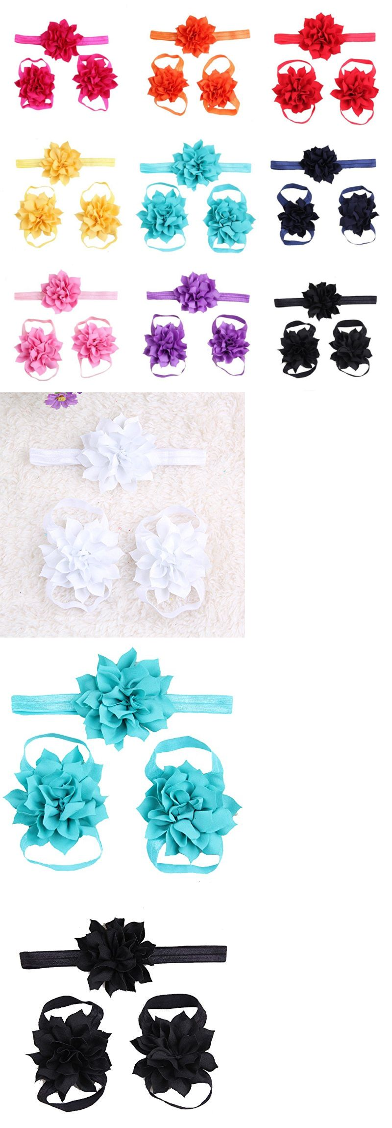 Hair accessories for babies ebay - Hair Accessories 18786 Lovinglove 10 Colors Baby Girls Foot Flower Barefoot Sandals Headbands Set