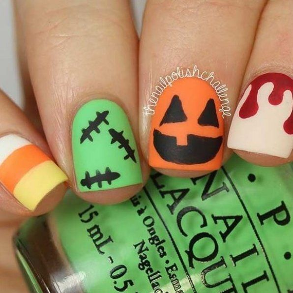 Creative Halloween Nail Art Design For Short Nails In 2020 Halloween Nails Easy Halloween Nails Nail Art Designs Diy