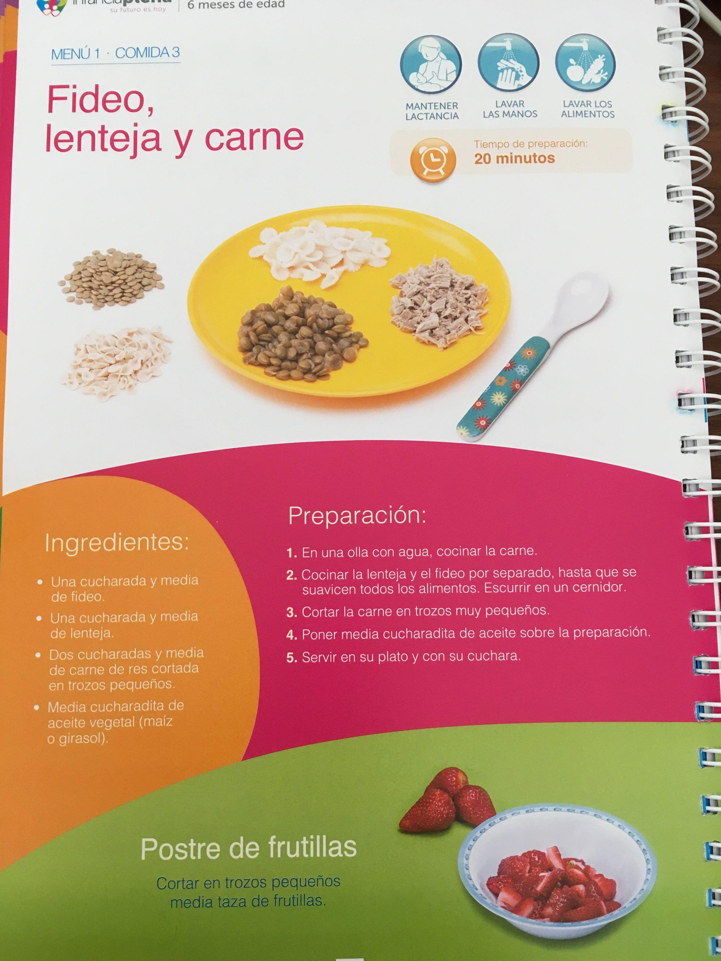 Menu De Fideo Lenteja Y Carne De 1 A 2 Anos Recetas De Comida