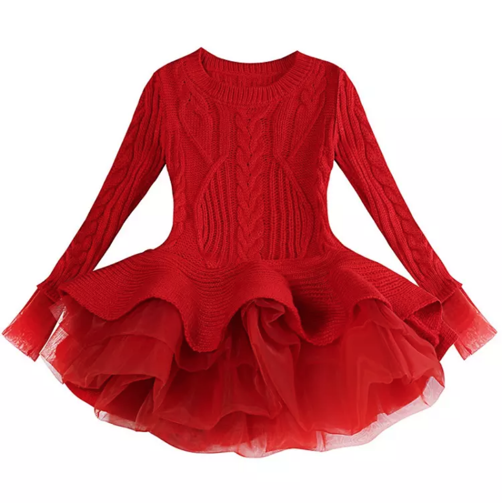 Sierra Sweater Dress Kids Dress Girls Sweater Dress Red Sweater Dress [ 984 x 982 Pixel ]