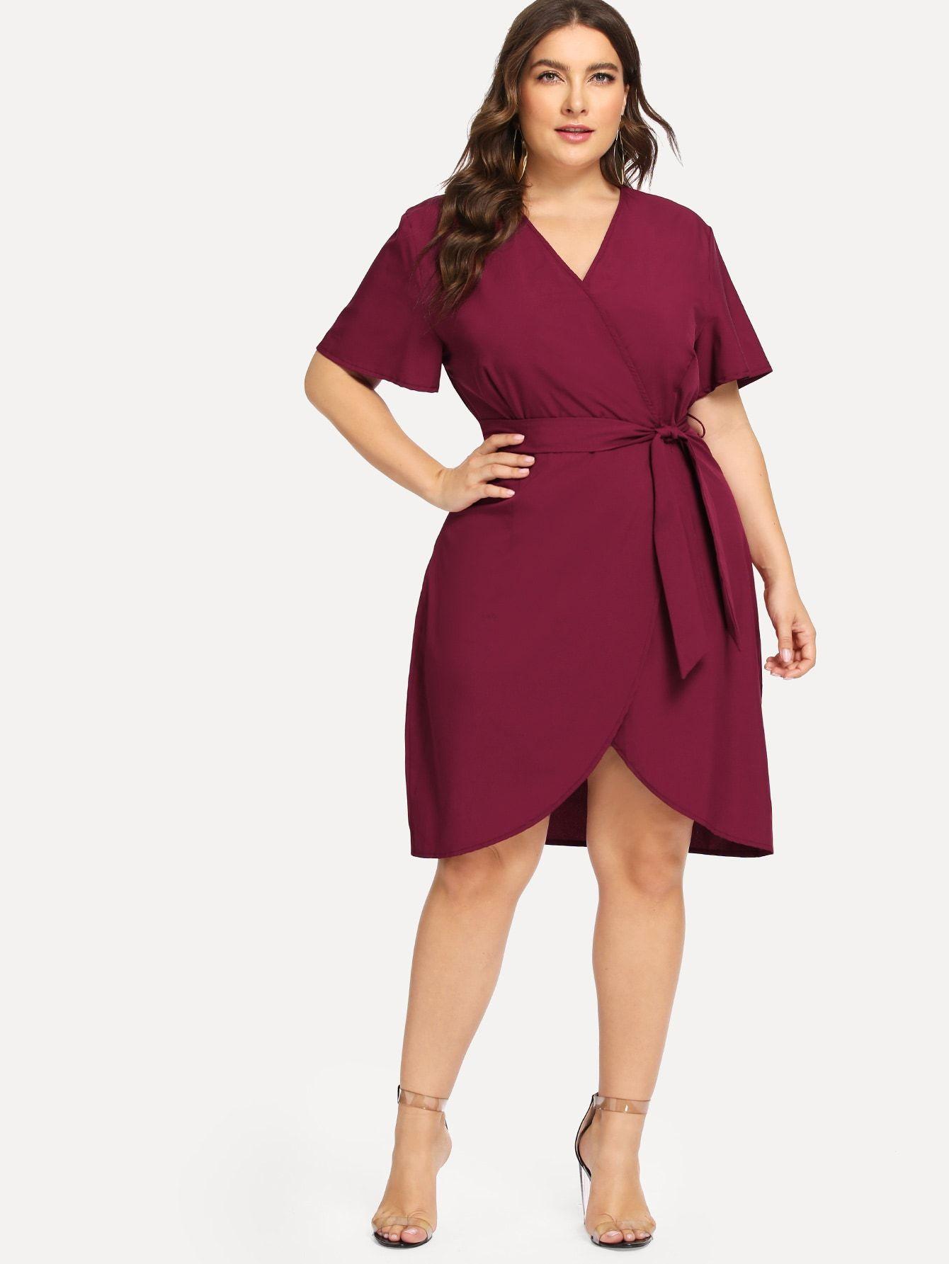 Women Asymmetrical V-Neck Casual Wrap Plain Long Midi Dress Plus Size