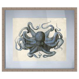 """Bring seaside-chic style to your living room or den with this charming giclee print, showcasing an octopus motif and a beige frame.    Product: Framed giclee printConstruction Material: Paper, glass and polystyreneColor: Beige frameFeatures: Arrives ready to hangDimensions: 24"""" H x 28"""" W"""