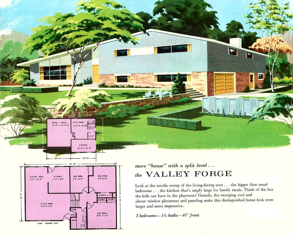 The Valley Forge Main Line Homes More Living For The 1960s Vintage House Plans Mid Century Exterior Vintage Architecture