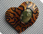 Heart Brooch, Leather Brooch, Jasper  Brooch, Madagascar Ocean Jasper, Hand Painted, Brooch Pin