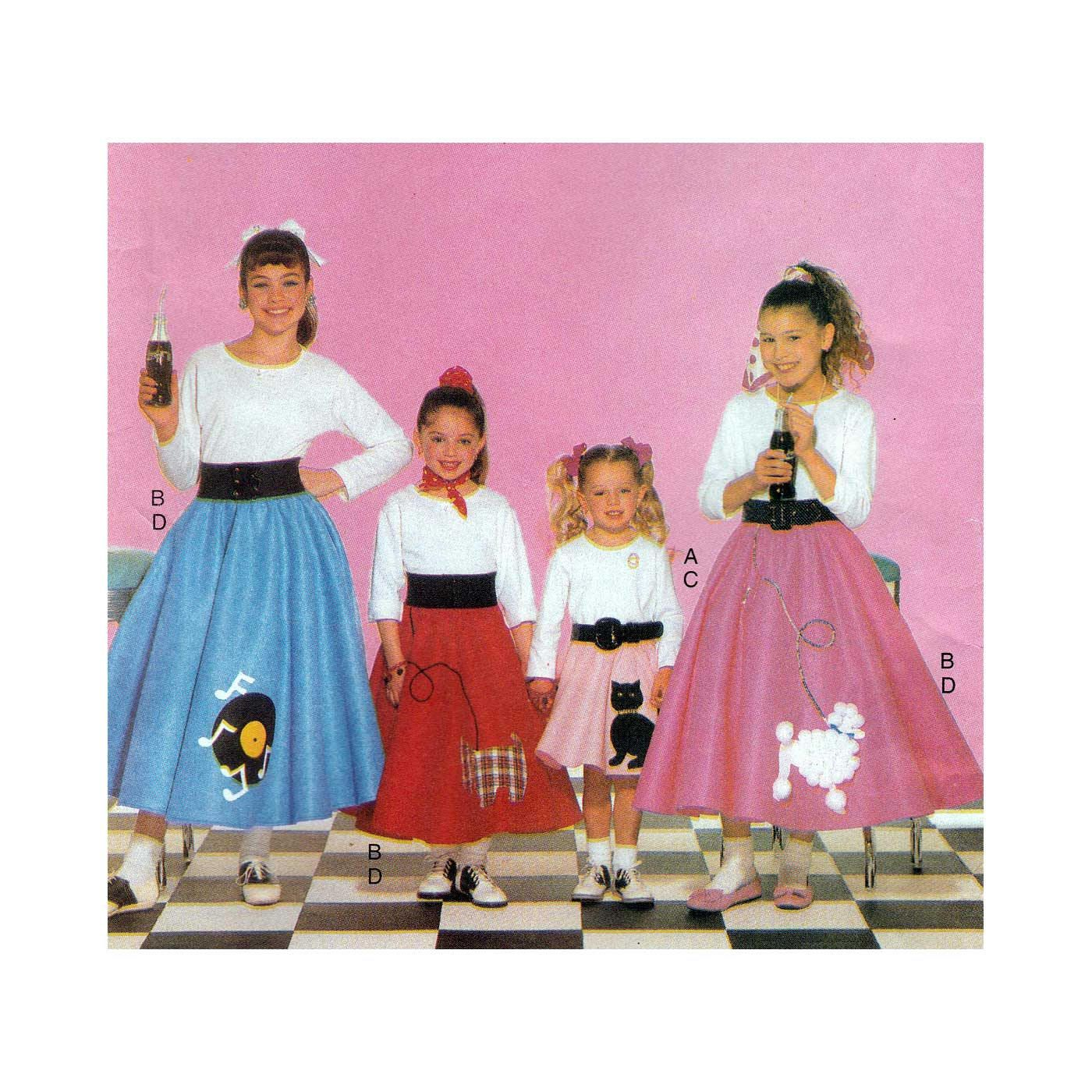 Rockabilly Costume, Poodle Skirt, Girls Sewing Pattern Child Size 4 ...