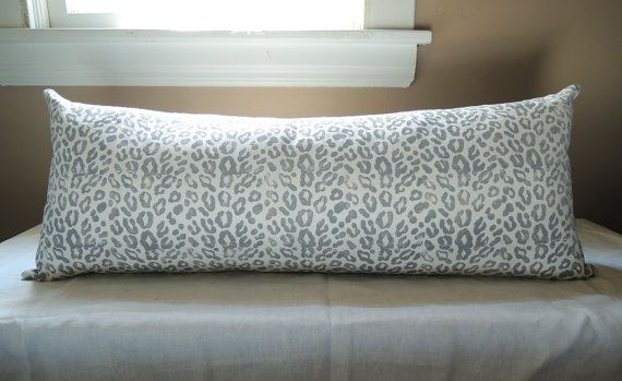 Extra Long Hand Block Printed Gray Leopard On White Linen Modern Fascinating Extra Long Decorative Pillow
