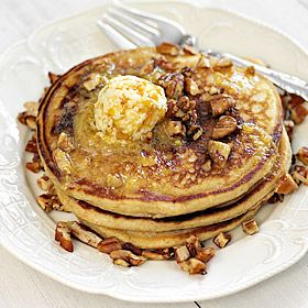 Sweet Potato Pancakes with Spiced Pecans and Peach Butter