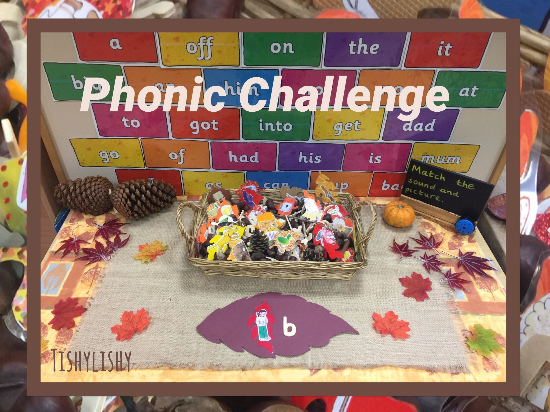 Phonic Challenge With Images On Leaves And Wooden Letters