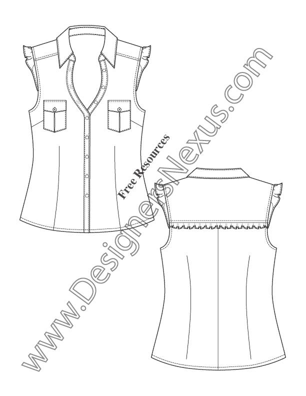 Flutter Sleeve Blouse Flat Fashion Sketch Template