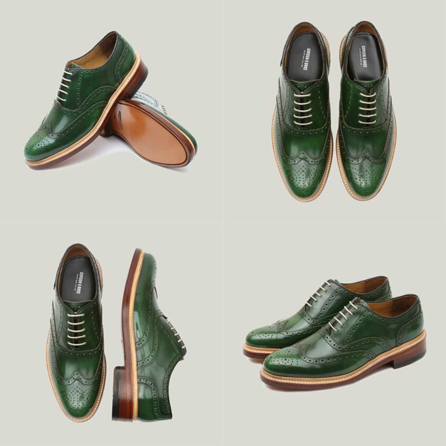 Handgemacht MENS LEATHER TAN BROGUE OFFICE CASUAL SMART LACE