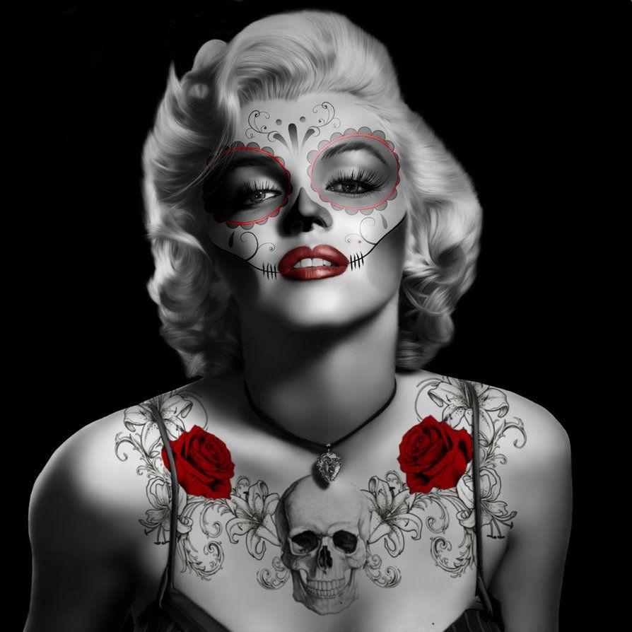 Marilyn Monroe Skeleton Dead Tattoos Shower Curtain Bathroom Decor