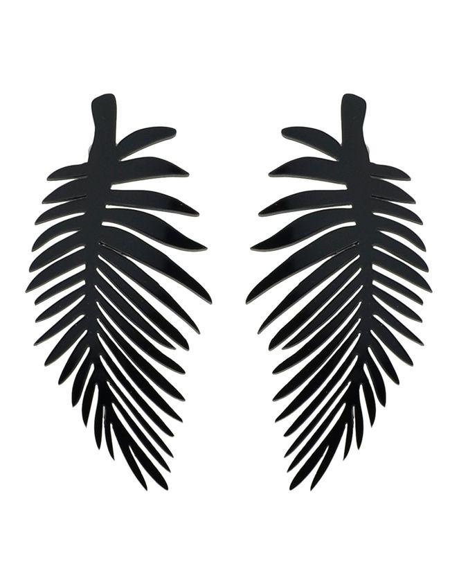 f91bfb9c1619 Gothic Punk Black Acrylic Leaf Shape Long Earrings 5.25