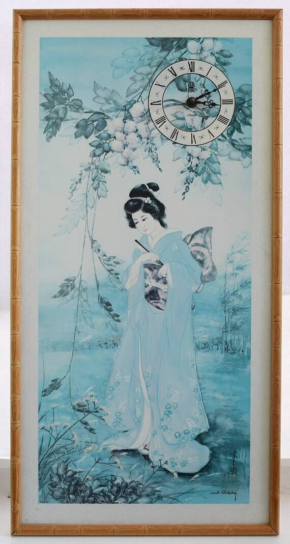 A0 canvas large japanese tokyo japan geisha girl old vintage painting art