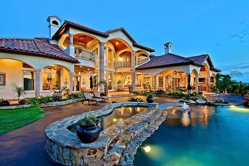 Luxury Mediterranean Mansion Exterior With Layed Brick Swimming Pool