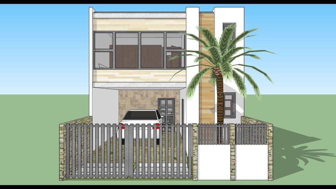 Casa En Un Terreno De 6x12 Mt Dos Pisos Fachada Y Diseño