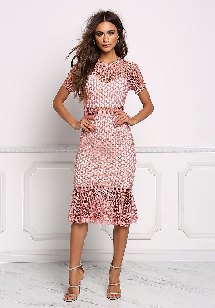 dea28c58f4a Dusty Rose Crochet Mermaid Dress - Going Out - Dresses Brudekjoler, Dress  Outfits, Baby
