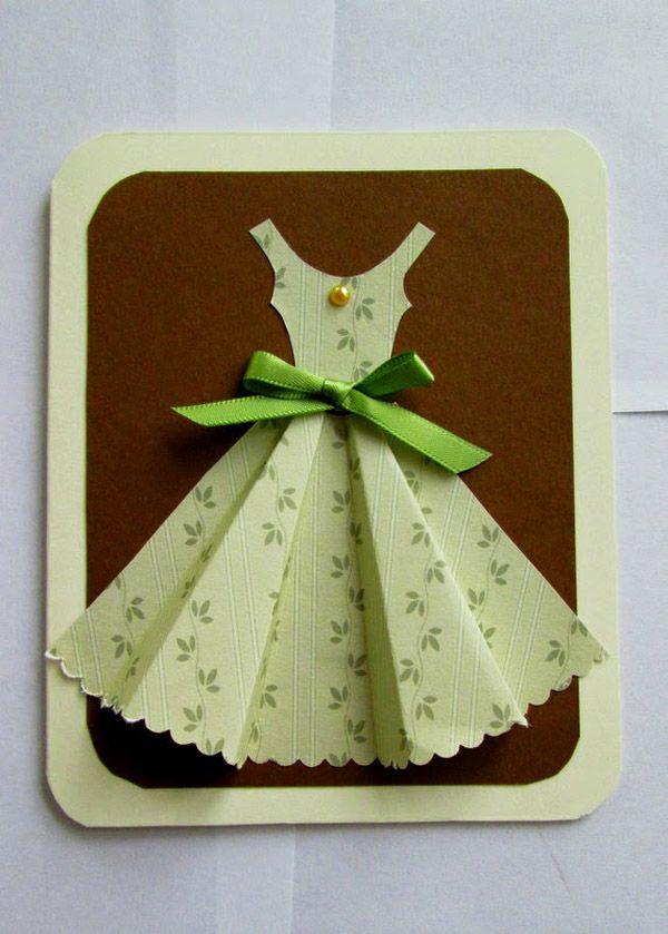 Оригами открытка на день рождения платье