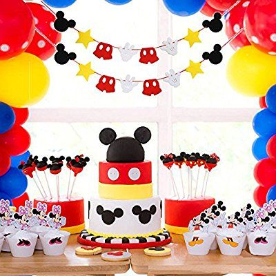 Amazon Mickey Mouse Themed Felt Garland Birthday Party Banner Decoration Supplies Toys Games