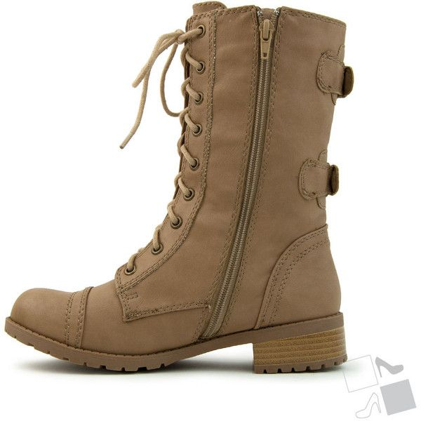 Light Camel Combat Lace Up Mid Calf Military Boot MyHotShoes.com ($30) via Polyvore